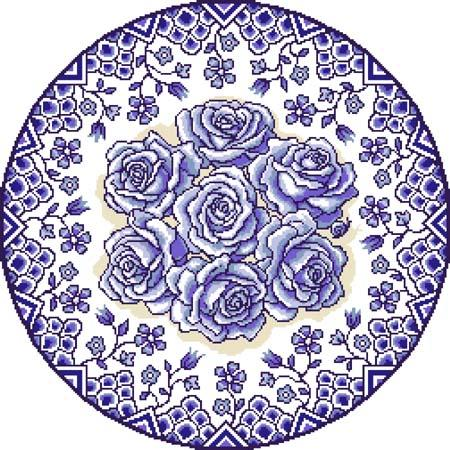 click here to view larger image of Rose Roundel No 1 - Blue (chart)