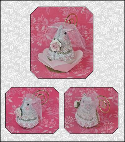 click here to view larger image of Juliet the Bride Mouse - Limited Edition Ornament and Embellishments (chart with charms/buttons)