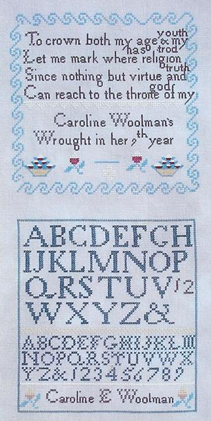 click here to view larger image of Caroline E Woolman 1835 Sampler (chart)