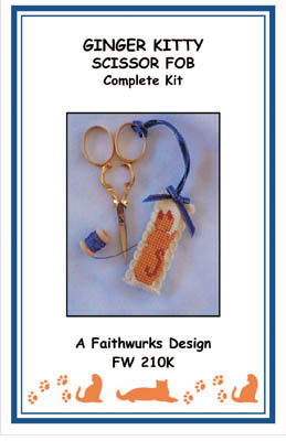 click here to view larger image of Ginger Kitty Scissor Fob Kit (counted cross stitch kit)