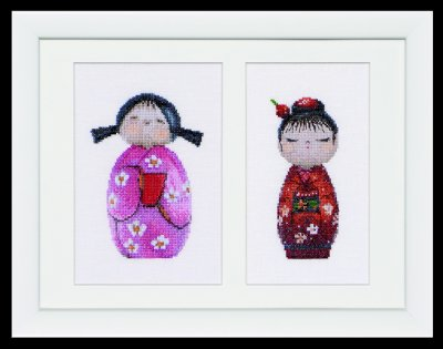 click here to view larger image of Kokeshi Dolls (Linen) (counted cross stitch kit)