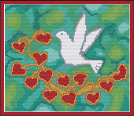 click here to view larger image of Birds and Hearts on Green Silk (chart)