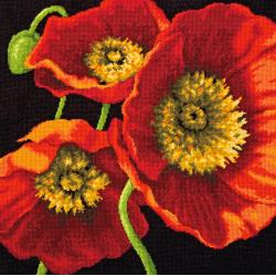click here to view larger image of Red Poppy Trio (needlepoint)
