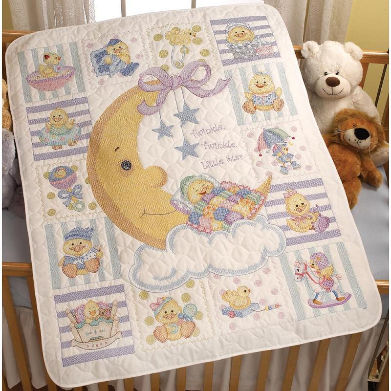 click here to view larger image of Twinkle Twinkle Little Star - Stamped Crib Cover (stamped cross stitch kit)