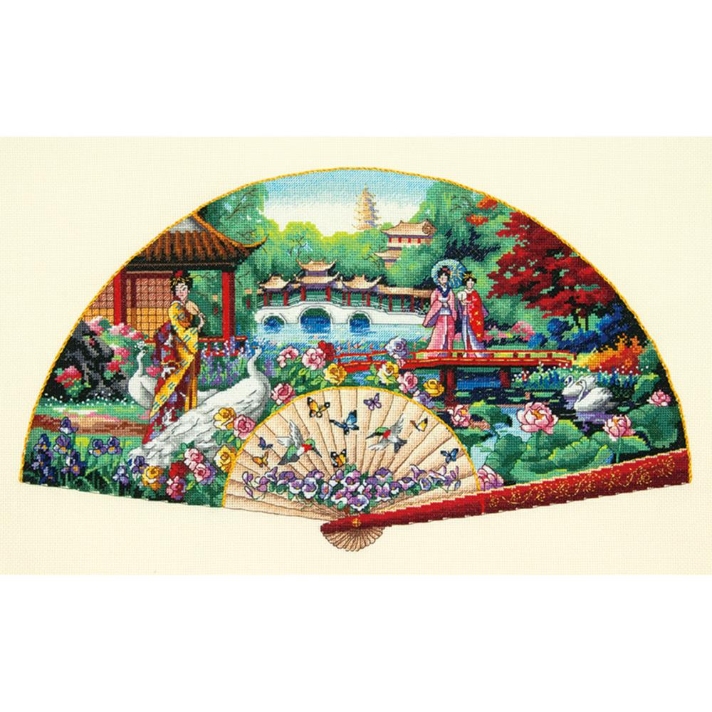 click here to view larger image of Garden Fan (counted cross stitch kit)
