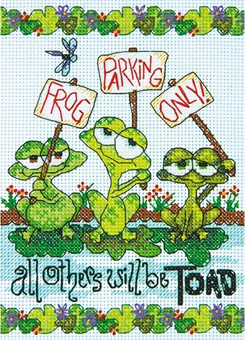 click here to view larger image of Frog Parking (counted cross stitch kit)