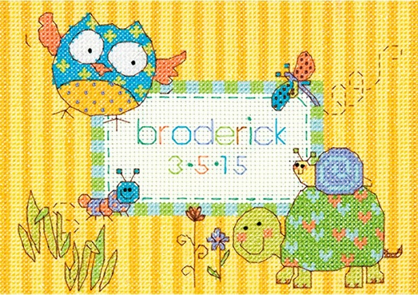 click here to view larger image of Woodland Creatures Birth Record (counted cross stitch kit)