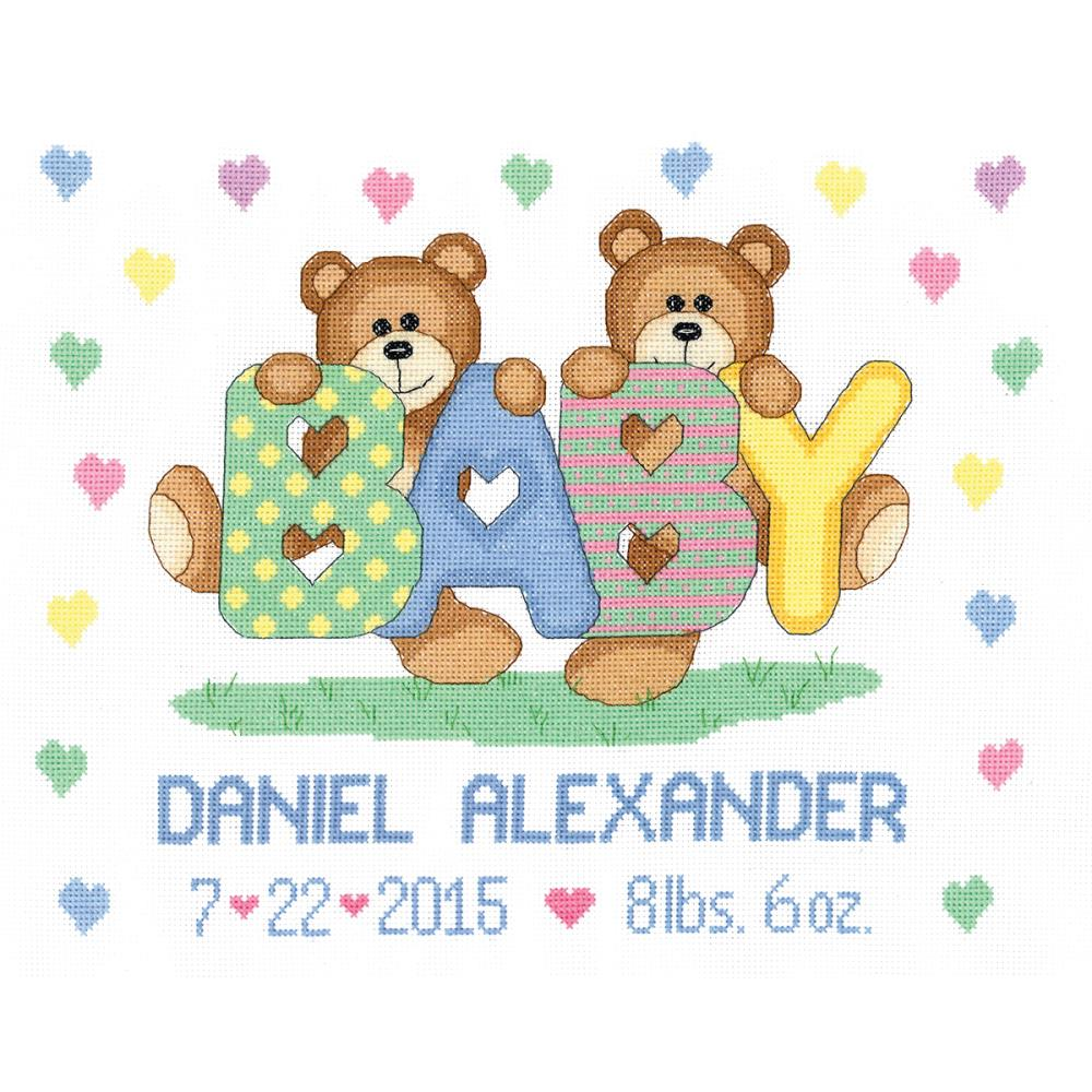 click here to view larger image of Teddy Baby Sampler Birth Announcement (counted cross stitch kit)