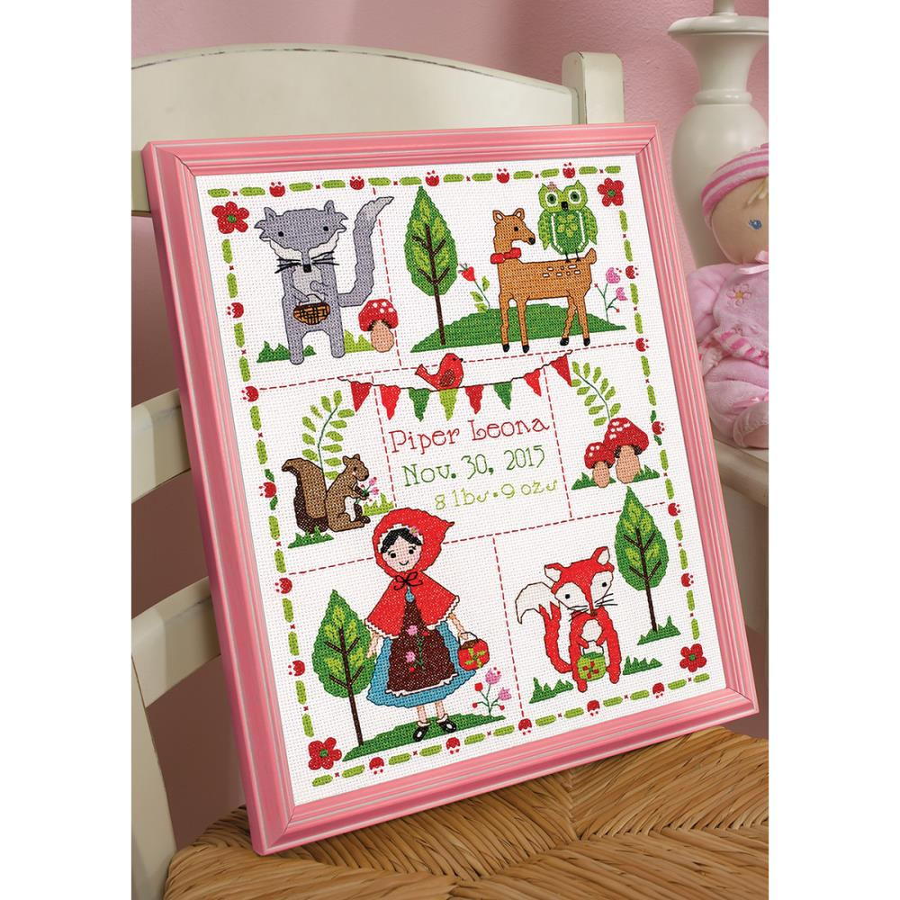 click here to view larger image of Little Red Riding Hood Birth Record (counted cross stitch kit)