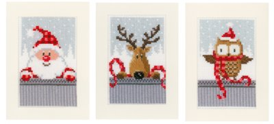 click here to view larger image of Christmas Card Buddies (Set of 3) (counted cross stitch kit)
