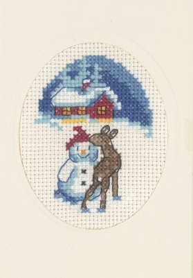 click here to view larger image of Snowman with Deer Card with Envelope (counted cross stitch kit)