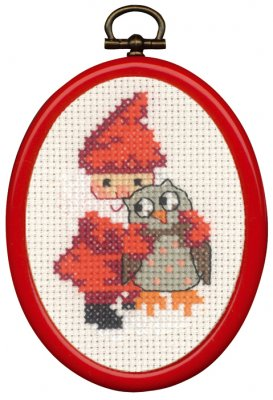 click here to view larger image of Elf and Owl Ornament (counted cross stitch kit)