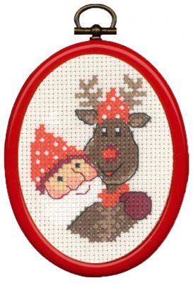 click here to view larger image of Elf and Rudolf Ornament (counted cross stitch kit)
