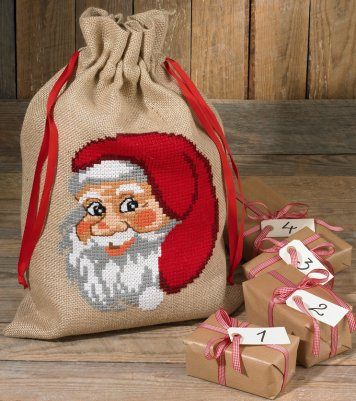 click here to view larger image of Santa Face Gift Bag (counted cross stitch kit)