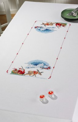 Santa Sleigh Table Cloth - click here for more details about counted cross stitch kit