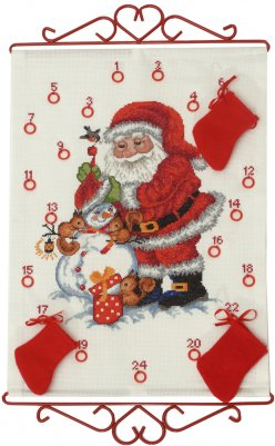 Santa and Snowman Advent Calendar - click here for more details about counted cross stitch kit