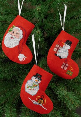 click here to view larger image of Socks Santa and Snowmen (3 designs( (counted cross stitch kit)
