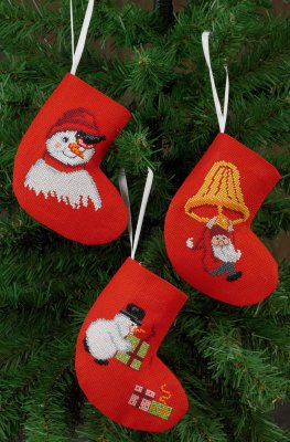 click here to view larger image of Socks Snowmen and Elf  (3 designs) (counted cross stitch kit)