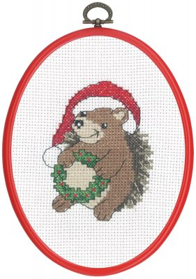 click here to view larger image of Hedgehog With Wreath (counted cross stitch kit)