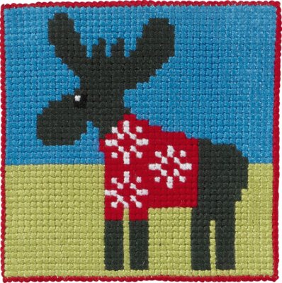 click here to view larger image of Moose in Sweater (counted cross stitch kit)