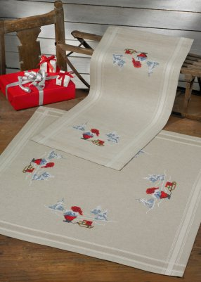 click here to view larger image of Elves with Sleigh Table Runner (upper right) (stamped cross stitch kit)
