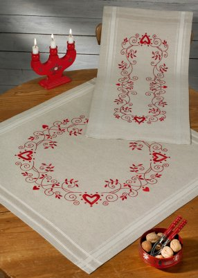 click here to view larger image of Christmas in Red Table Runner (Upper right) (stamped cross stitch kit)