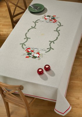 click here to view larger image of Elves in Forest Tablecloth (stamped cross stitch kit)