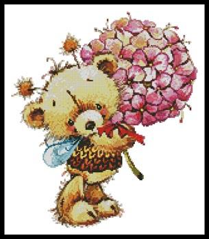 click here to view larger image of Teddy Bee With Flowers (chart)