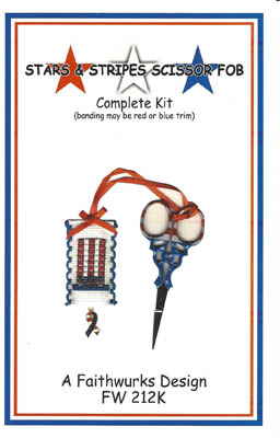 click here to view larger image of Stars and Stripes Scissor Fob Kit (counted cross stitch kit)