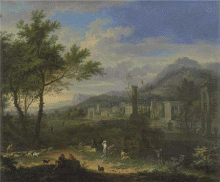 click here to view larger image of Arcadian Landscape With Fishermen (chart)