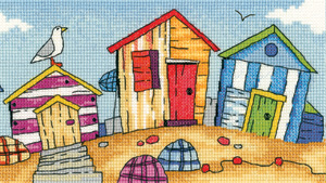 click here to view larger image of Beach Huts - By The Sea (Aida) (counted cross stitch kit)