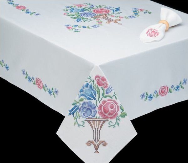 click here to view larger image of Victorian Floral Table Cloth - 50 x 70 (stamped cross stitch)