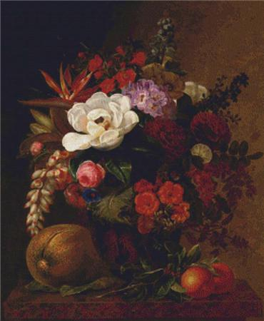 click here to view larger image of Exotic Blooms in a Grecian Urn with Fruit on a Marble Ledge (chart)