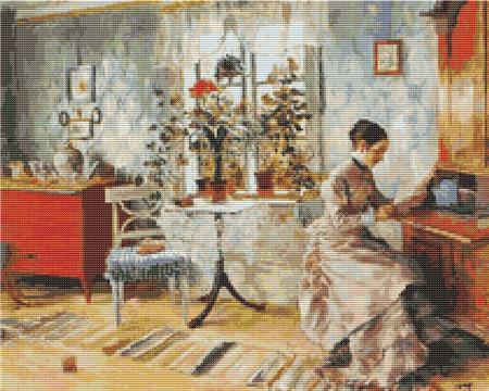 click here to view larger image of An Interior with a Woman Reading (chart)