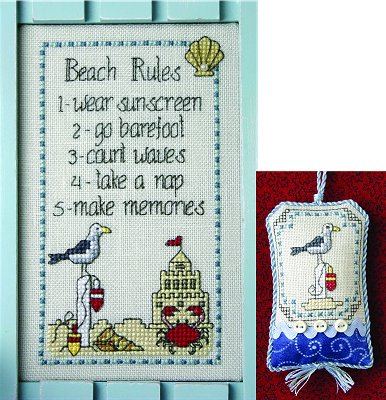 click here to view larger image of Beach Rules (chart with charms/buttons)