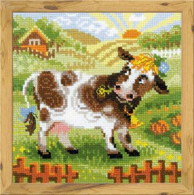 click here to view larger image of Cow - The Farm (counted cross stitch kit)