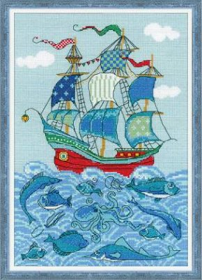 "click here to view larger image of Sailboat ""Luck"" (counted cross stitch kit)"