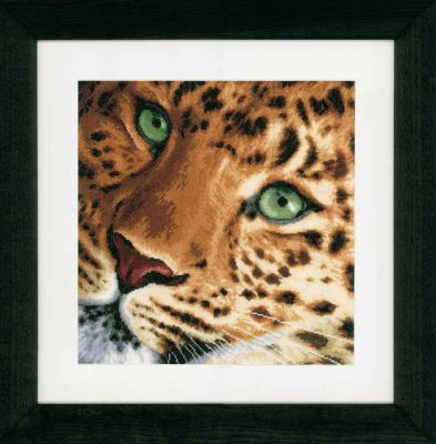 click here to view larger image of Leopard - Linen (counted cross stitch kit)