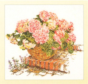click here to view larger image of Pink Hydrangea In A Basket - Aida (counted cross stitch kit)