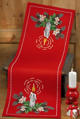 click here to view larger image of Candle Christmas Runner (counted cross stitch kit)