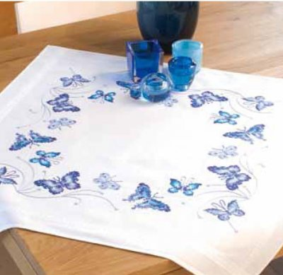 click here to view larger image of Blue Butterflies Tablecloth (counted cross stitch kit)