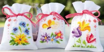 click here to view larger image of Flowers and Butterflies Potpourri Bags (Set of 3) (counted cross stitch kit)
