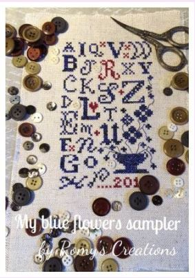 click here to view larger image of My Blue Flower Sampler (Pre-order) - Romy's Creations (chart)
