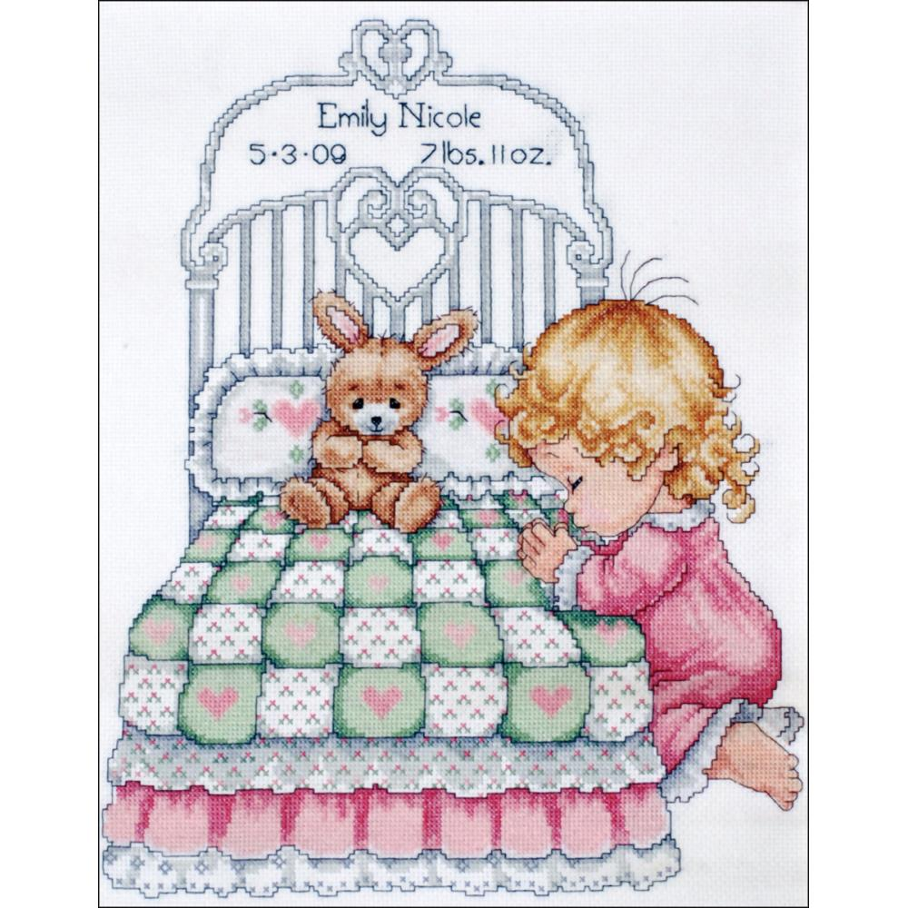 click here to view larger image of Bedtime Prayer Girl Birth Record (counted cross stitch kit)