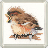 click here to view larger image of Sparrow - Little Friends Coaster Kit (counted cross stitch kit)