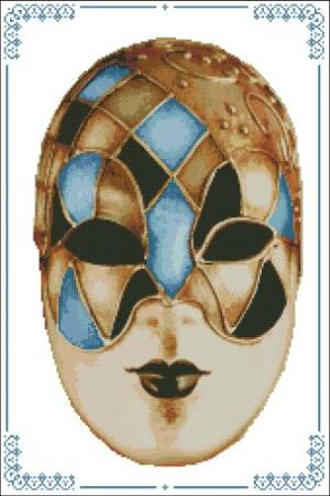 click here to view larger image of Carnival Masks - 008 Gold Blue (chart)