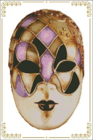 click here to view larger image of Carnival Masks - 009 Gold Pink (chart)