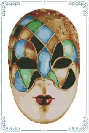 click here to view larger image of Carnival Masks - 010 Gold Blue Green (chart)