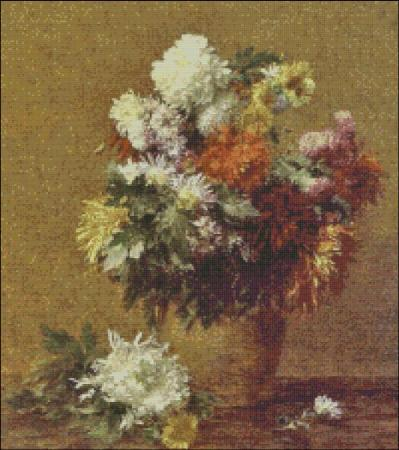 click here to view larger image of Fantin-Latour Chrysanthemums (chart)
