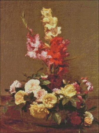 click here to view larger image of Fantin-Latour Gladiolas and Roses (chart)